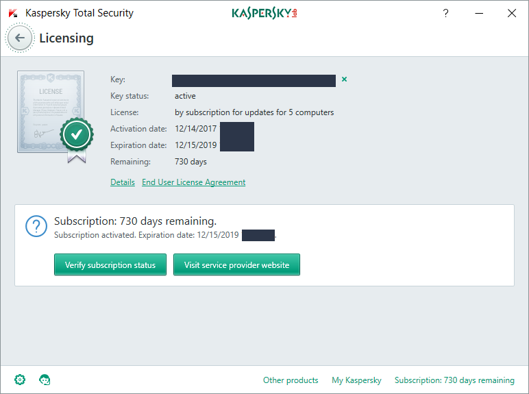 kaspersky internet security 2018 trial version key